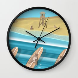 Team Pugs Surfing Wall Clock