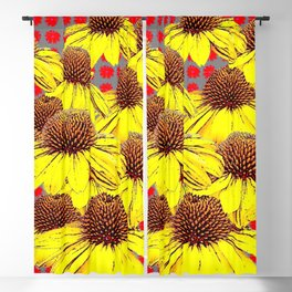 DECORATIVE YELLOW CONE FLOWERS ON RED PATTERN ART Blackout Curtain