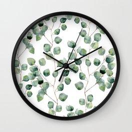 Watercolor eucalyptus silver dollar Wall Clock