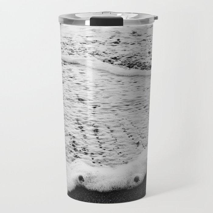 Rushing in - black white Travel Mug