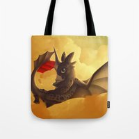 toothless Tote Bags featuring Toothless! by NezuPanda