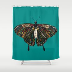 swallowtail butterfly teal Shower Curtain
