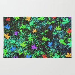 maple leaf in pink blue green orange with green creepers plants Rug