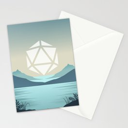 Sunrise Between Mountains Lake D20 Dice Sun Tabletop RPG Landscape Stationery Cards