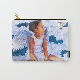 Watercolor Hummingbird Angel on Wrinkled Paper Carry-All Pouch