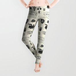 Railroad Symbols // Beige Leggings