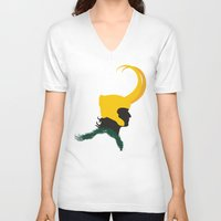loki V-neck T-shirts featuring Loki by momolady