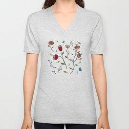 Floral Spice, Flowers Print Pattern Unisex V-Neck