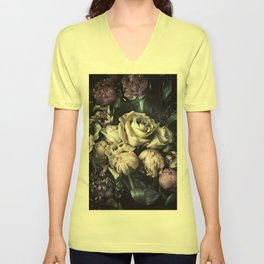 Roses and peonies vintage style Unisex V-Neck