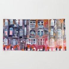 Apartment House in Poznan and orange umbrellas Beach Towel