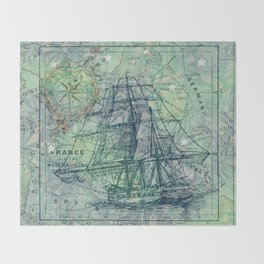 Vintage Clipper Ship Throw Blanket