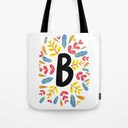 Letter 'B' Initial/Monogram With Bright Leafy Border Tote Bag