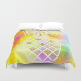 Watercolor and Gold Pineapple Duvet Cover