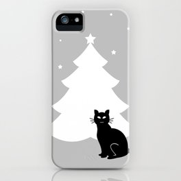 A black cat and Christmas tree iPhone Case