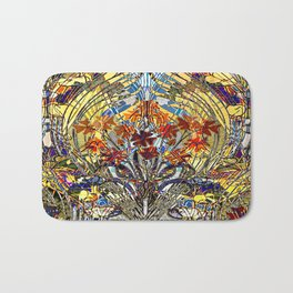 Art Nouveau Stain Glass Floral Bath Mat