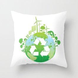 Green Planet Throw Pillow