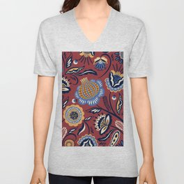 Abstract burgundy navy blue autumn floral Unisex V-Neck