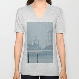 Loons on Posts, Pier and Looming Ship Marina in Background Unisex V-Neck