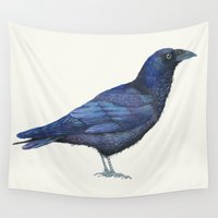 raven Wall Tapestries featuring RAVEN by Carolina Fuentes (BLUE HASH)