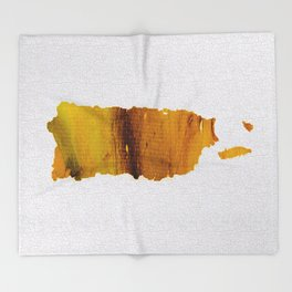 Colorful Art Puerto Rico Map Yellow Brown Throw Blanket