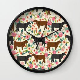 Angus cattle farm friendly gifts perfect for homesteader homestead lover Wall Clock