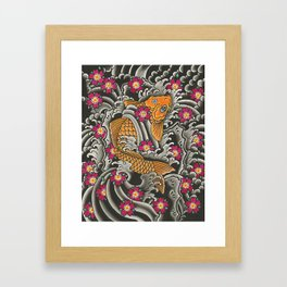 Japanese Koi Fish and Cherry Blossoms Tattoo Art Framed Art Print