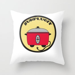 Funny Sarcastic Novelty Unplug Tshirt Design Unplugit Throw Pillow