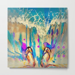 colorful feet with flip flops on sandy beach Metal Print