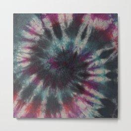 Tie Dye Spiral Black Turquoise Purple Red Metal Print