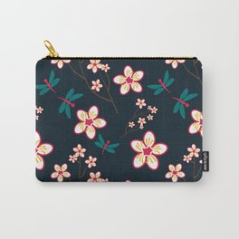 Cherry Blossom Season Dark Green Background Carry-All Pouch