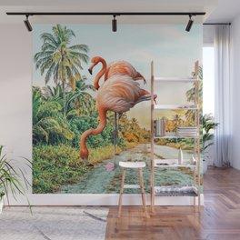 Flamingo Vacay #photography #surrealism Wall Mural