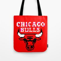 chicago bulls Tote Bags featuring Bulls Bulls Bulls by Art by Ken
