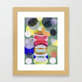 Overlapping Ovals and Circles on Green Dotted Ground Framed Art Print