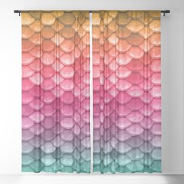 Mermaid Tail Fish Scales Sheer Curtain