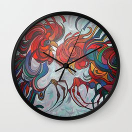 Farmyard Roosters Wall Clock
