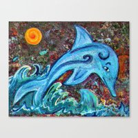 dolphin Canvas Prints featuring Dolphin by gretzky