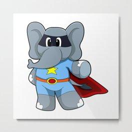 Elephant as Hero with Cape Metal Print