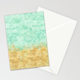 Pretty Mint Gold Glam Watercolor Stationery Cards