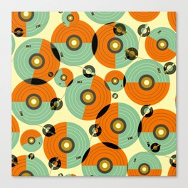Turntables (Red) Canvas Print