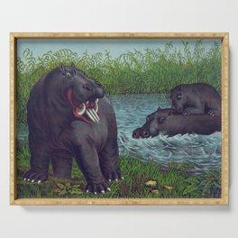 Vintage Illustration of Hippopotamuses (1874) Serving Tray