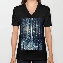 Magical Forest Teal Gray Elegance Unisex V-Neck