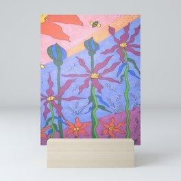 Blue Bohemian Garden Art Mini Art Print