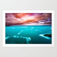 MOVEMENT - ocean blue waves and pink sky clouds sunset teal green love adventure sea digital Art Print