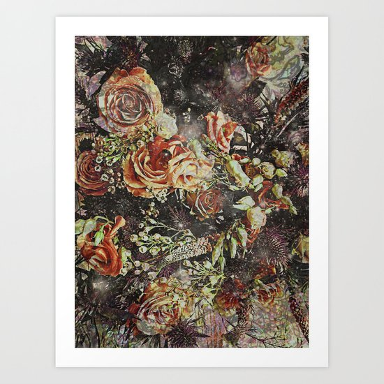 Dramatic Winter Flowers Art Print
