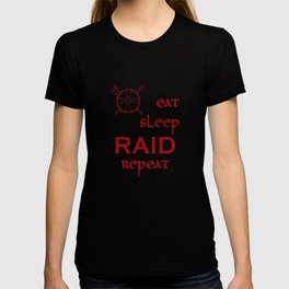 eat-sleep-RAID-repeat red, Vikings T-shirt