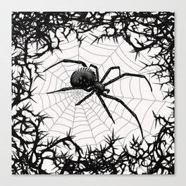 Briar Web- Black and White Canvas Print