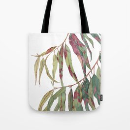 A touch of red - watercolour of eucalyptus branch Tote Bag