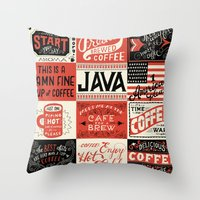 coffee Throw Pillows featuring Coffee by Mary Kate McDevitt