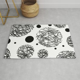 Scribbles - Black and white scribbles and black circles pattern on white Rug