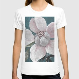 Pink Large Flower on Blue background T-shirt